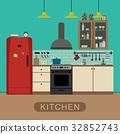 kitchen, interior, flat 32852743