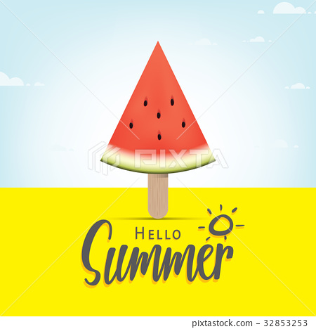 Hello summer heading with watermelon ice-cream 32853253