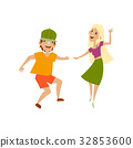 Vector set of teenagers in casual clothing dances 32853600