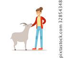 vector, goat, farmer 32854348