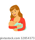 Young happy mother breastfeeding her baby with 32854373