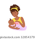 Young black mother breastfeeding her baby with 32854379