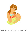 mother, baby, vector 32854387