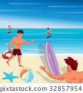 Beach and sea, characters vector illustration 32857954