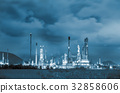 Oil refinery plant in twilight scene 32858606