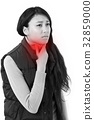 sick woman suffering from sore throat 32859000