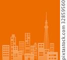 빌딩 단지, 건물 단지, 실루엣 32859560