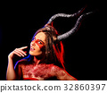 Mad satan woman aggressive cry in hell . Witch 32860397