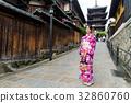 Young woman wearing kimono at yasaka pagoda 32860760
