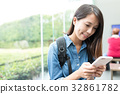 Young Woman looking on cellphone in university 32861782