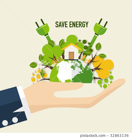 Energy saving concept with Green Eco Earth and Trees.. Vector illustration 32863136