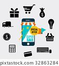 Sale label price tag design. Vector illustration 32863284