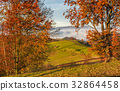 countryside area at foggy morning in autumn 32864458