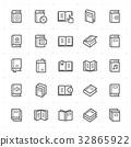 Icon set - book outline stroke vector illustration 32865922