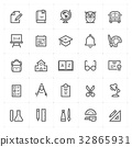 Icon set - school and education outline stroke 32865931