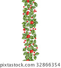 Seamless border from Christmas holly berry. EPS 10 32866354