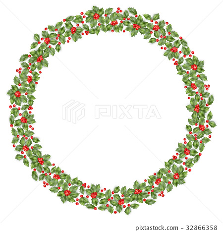 Round Christmas wreath with holly. EPS 10 vector 32866358