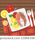 Top View Salmon Steak On Table Vector Illustration 32866398