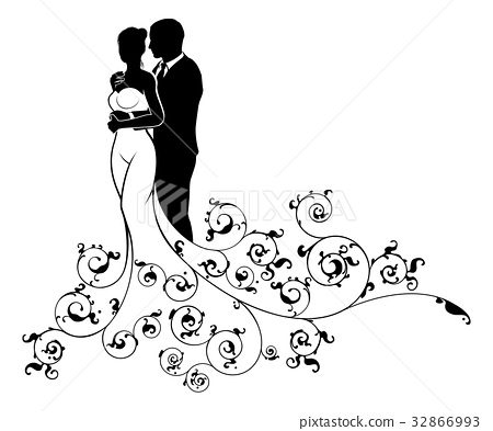Bride and Groom Abstract Wedding Silhouette Design 32866993
