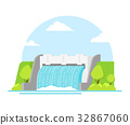 Cartoon Hydroelectric Station on a Landscape 32867060