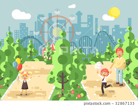 Vector illustration walk stroll promenade father 32867133