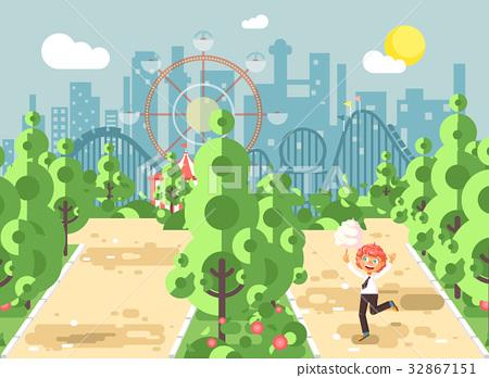 Vector illustration walk stroll promenade boy 32867151