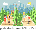 Vector illustration walk stroll promenade boy and 32867153