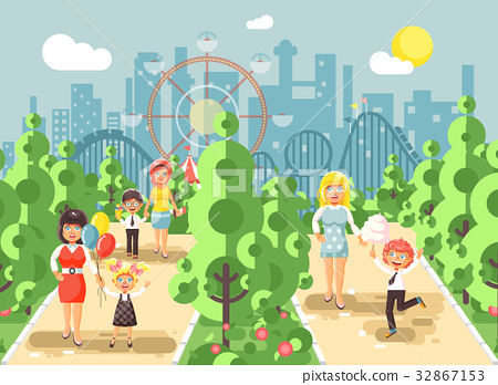Vector illustration walk stroll promenade boy and 32867153