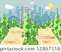 Vector illustration of scene landscape, alley 32867156