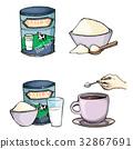 powder, milk, spoon 32867691