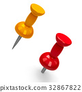 Red and yellow pushpins 32867822