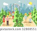Vector illustration walk stroll promenade couples 32868551