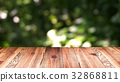 Perspective wood and bokeh light background 32868811