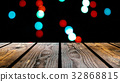 Perspective wood and bokeh background of night and 32868815