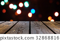 Perspective wood and bokeh background of night and 32868816