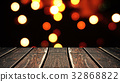Perspective wood and bokeh background of night and 32868822