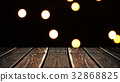 Perspective wood and bokeh background of night and 32868825