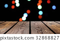 Perspective wood and bokeh background of night and 32868827