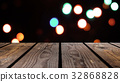 Perspective wood and bokeh background of night and 32868828