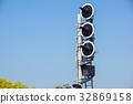 Railway traffic lights show a stop signal . 32869158