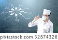 Beautiful medical woman doctor in uniform. Studio 32874328