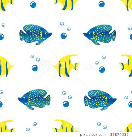 Watercolor fish seamless pattern 32874353