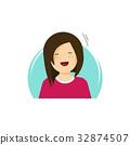 Happy girl vector illustration, flat cartoon 32874507