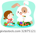 Girl eating vegetable with fluffy rabbit vector. 32875121