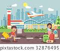 Vector illustration cartoon character late boy run 32876495