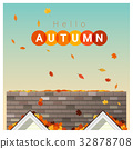 Hello Autumn background with a small house 32878708