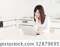 컴퓨터, 여성, 여자 32879695