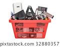 Shopping basket full of home kitchen appliances 32880357