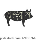 Black Pig Silhouette with typographic text in Korean Jeju Black Pork. Vintage vector label. 32880766