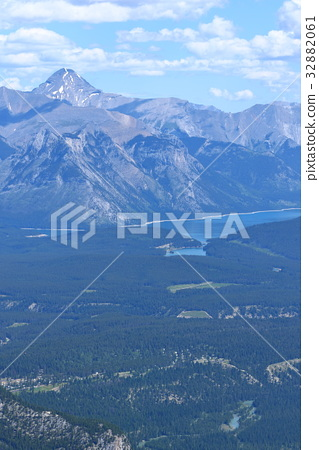 Landscape from the top of the Canadian Rockies Banff Gondola - Stock